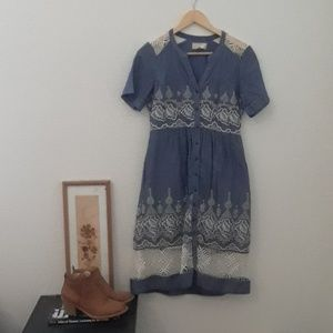 Anthropologie moulinette soeurs embroidered dress